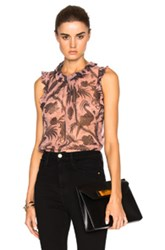 Zimmermann Lavish Flounce Top In Pink Floral Pink Floral