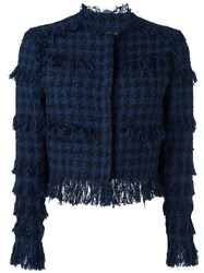 Msgm Tweed Houndstooth Jacket Blue