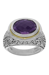 Phillip Gavriel 18K Yellow Gold And Sterling Silver Oval Amethyst Ring Purple