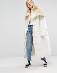 Monki Oversized Maxi Padded Jacket With Fur Collar White