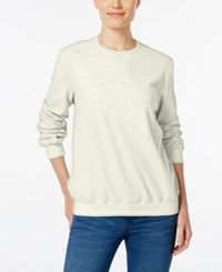 Alfred Dunner Embroidered Fleece Sweater Ivory