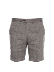 Michael Bastian Herringbone Linen Shorts Black Multi