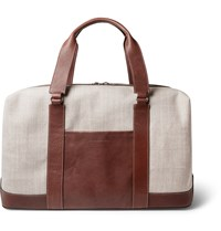 Brunello Cucinelli Textured Leather And Canvas Holdall Brown