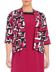 Nipon Boutique Plus Printed Open Front Jacket Geranium Multi