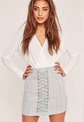 Missguided Petite Faux Suede Lace Up Eyelet Mini Skirt Grey