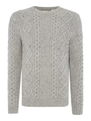 Levi's Fisherman Cable Knitted Crew Neck Jumper Grey
