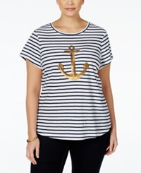 Charter Club Plus Size Striped Anchor Print T Shirt Only At Macy's Intrepid Blue Combo