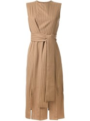 Le Ciel Bleu 'Pin Stripe Swing' Dress Brown