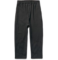 By Walid Morton Cropped Embroidered Linen Trousers Black