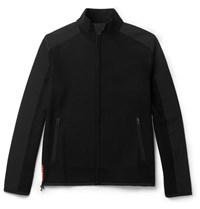 Prada Shell Trimmed Wool Zip Up Sweater Black