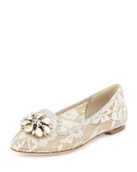 Dolce And Gabbana Crystal Embellished Lace Loafer Sand
