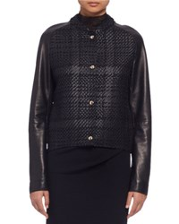 Lanvin Woven Leather Baseball Jacket Black Noir