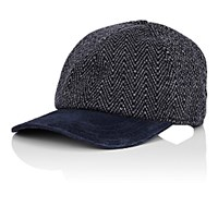 Luciano Barbera Men's Suede Bill Herringbone Knit Cashmere Baseball Cap Navy