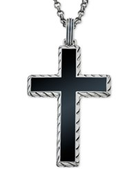 Esquire Men's Jewelry Onyx 40 X 27 1 2Mm Cross Pendant Necklace In Sterling Silver First At Macy's