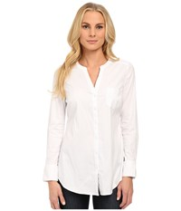 Nydj Fit Solutions Cotton Dobby Tunic Optic White Women's Long Sleeve Button Up