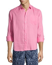 Vilebrequin Linen Long Sleeve Shirt Pink