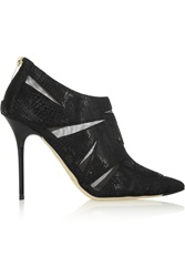 Jimmy Choo Wister Glossed Snake Effect Suede And Mesh Ankle Boots Black