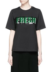 Mo And Co. 'Fresh' Sequin Embellished T Shirt Black