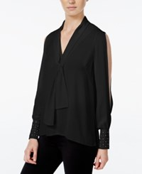 Xoxo Juniors' Studded Split Sleeve High Low Blouse Black
