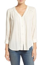 Hinge Women's Lace Inset Woven Top