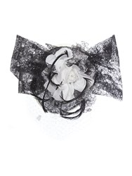 Amy Money Harriet Lace Floral Trim And Veiling Headpiece Black And Ivory Black And Ivory