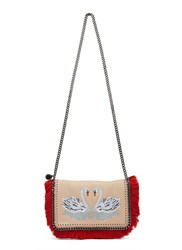 Stella Mccartney Fringed Falabella Swan Embroidered Crossbody Bag Pink