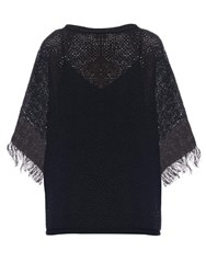 Issey Miyake Bark Oversized Cotton Knit Top Black