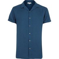 River Island Mens Blue Revere Collar Short Sleeve Shirt