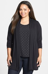 Plus Size Women's Dantelle Open Pleat Front Cardigan Black