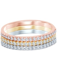 Macy's Diamond Tri Color Stackable Bands 3 8 Ct. T.W. In 14K Gold White Gold And Rose Gold