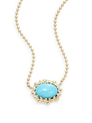 Anzie Dew Drop Turquoise And 14K Yellow Gold Pendant Necklace Gold Turquoise