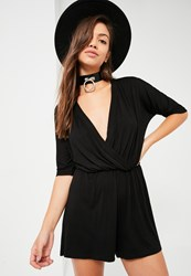 Missguided Black Short Sleeve Wrap Jersey Playsuit