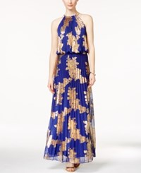 Msk Metallic Print Pleated Blouson Gown Royal Gold