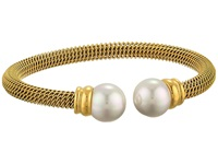 Majorica Steel Bangle Bracelet Gold White Bracelet Multi