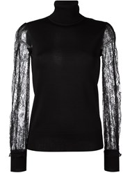 Roberto Cavalli Sheer Sleeve Jumper Black
