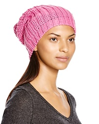 Aqua Chunky Knit Solid Slouchy Hat Neon Pink