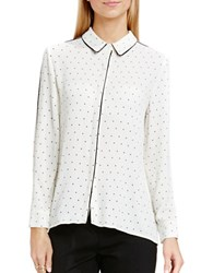 Vince Camuto Pindot Button Front Blouse White