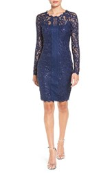 Sequin Hearts Women's Long Sleeve Lace Sheath Dress
