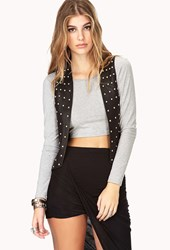 Forever 21 Studded Out Faux Leather Moto Vest