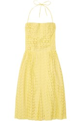 Nina Ricci Broderie Anglaise Cotton Dress Yellow