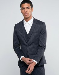 Selected Homme Suit Jacket With Brushed Tonal Check In Skinny Fit Charcoal Grey