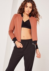 Missguided Petite Scuba Bomber Jacket Brown Brown