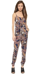Glamorous Paisley Jumpsuit Navy Red Paisley