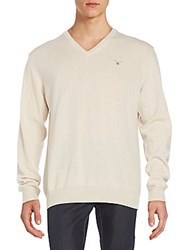 Gant Wool And Cashmere V Neck Sweater Beige