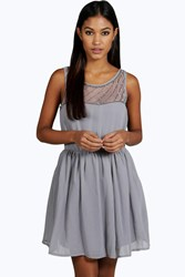 Boohoo Ava Embellished Top Skater Prom Dress Grey