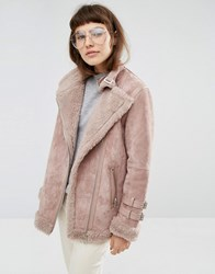Asos Suede Aviator Jacket With Faux Shearling Mink Pink