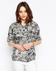 Ganni Vertical Floral Print Long Sleeve Shirt Moonlessdarwin