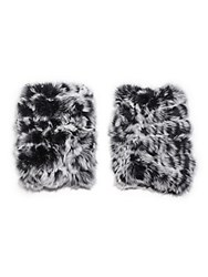 Jocelyn Fur Fingerless Gloves Black Snow