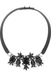 Givenchy Leather Gunmetal Tone Crystal And Faux Pearl Necklace