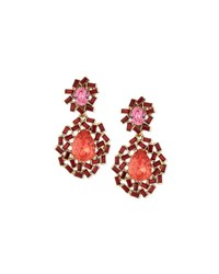 Oscar De La Renta Baguette Cluster Crystal Statement Earrings Berry